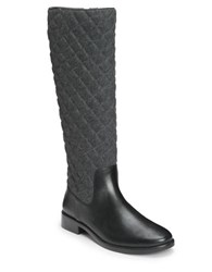 Aerosoles Establish Faux Leather Quilted Riding Boots Grey