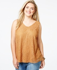 Eyeshadow Plus Size Sleeveless Lace Swing Top Maple