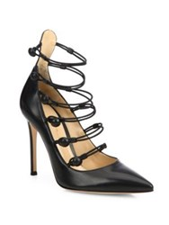 Gianvito Rossi Strappy Leather Point Toe Pumps Black