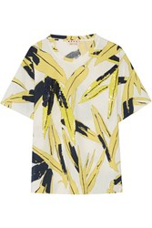 Marni Sequin Embellished Printed Cotton Jersey T Shirt Yellow