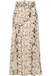 Nicholas Ruched Snake Print Silk Chiffon Midi Skirt Brown