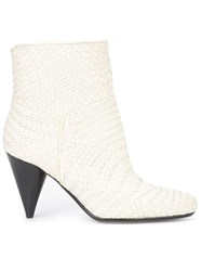Derek Lam 10 Crosby Interlaced Mid Calf Boots White