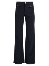 See By Chloe Wide Leg Corduroy Stretch Cotton Trousers Navy