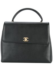 Chanel Vintage Cc Logo Tote Bag Black