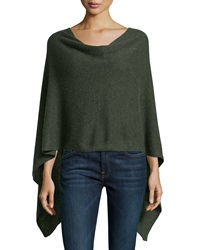 Minnie Rose Cashmere Cowl Neck Asymmetric Hem Poncho Forest Hea