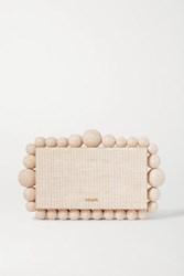 Cult Gaia Eos Beaded Woven Raffia Clutch Sand