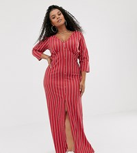 Pink Clove Button Front Maxi Dress In Red Stripe