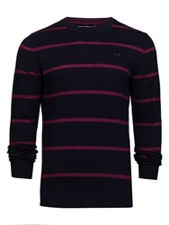Raging Bull Men's Big And Tall Crew Neck Striped Sweater Blue
