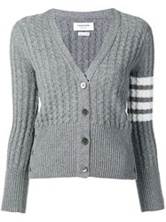 Thom Browne 4 Bar Baby Cable Cashmere Cardigan Grey