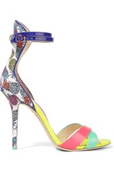 Sophia Webster Nicole Pineapple Printed Canvas And Patent Leather Sandals Purple