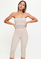 Missguided Nude Mesh Waist Cropped Bandeau Unitard Jumpsuit