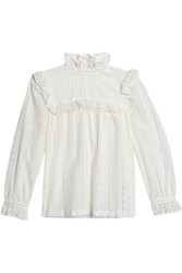 Claudie Pierlot Ruffled Broderie Anglaise Cotton Blouse White