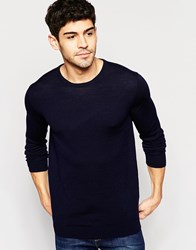 Selected Knitted Crew Neck Jumper In Merino Wool Navy