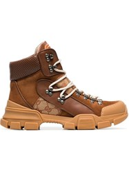 Gucci Journey Gg Logo Suede Hiking Boots Brown