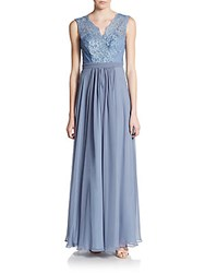 Js Boutique Lace Overlay Chiffon Gown French Blue