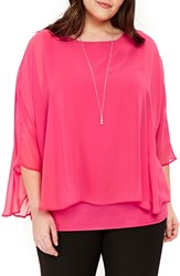 Evans Plus Size Overlay Top With Necklace