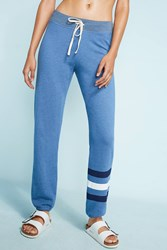 Anthropologie Striped Terry Joggers Dark Blue