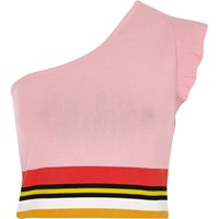 River Island Pink Knit Stripe One Shoulder Crop Top