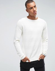 Only And Sons Jumper With Tonal Stripe Detail White Cream