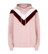 Sandro Velvet Embroidered Hoodie Pink