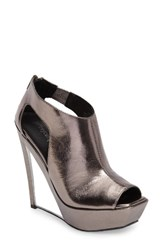 Jeffrey Campbell Women's Dunya Cutout Platform Wedge Sandal Pewter Clear Leather