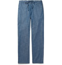 Freemans Sporting Club Cotton Chambray Drawstring Trousers Blue