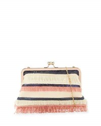 Neiman Marcus Multi Fringe Sequin Clutch Bag Pink