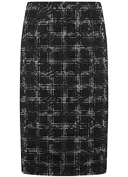 Mint Velvet Black Check And Lace Mix Skirt Black