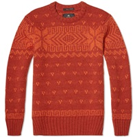 Nigel Cabourn Lewis Crew Knit Vintage Orange