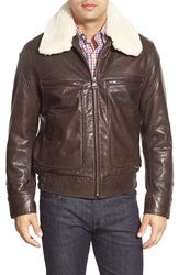 Marc New York By Andrew Marc 'Carmine' Leather Bomber With Faux Fur Collar Brown