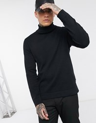 Only And Sons Roll Neck Knitted Jumper In Black