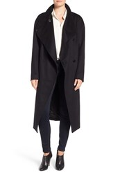 Badgley Mischka Women's 'Dawn' Full Length Wool Blend Coat With Leather Trim