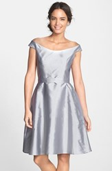 Women's Alfred Sung Dupioni Fit And Flare Dress French Grey