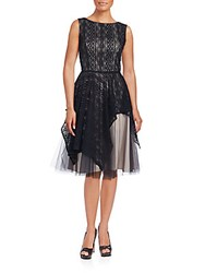 Nha Khanh Lace Overlay Fit And Flare Dress Black