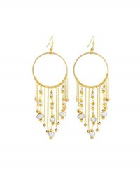 Nakamol Hoop Drop Earrings W Pearl Chain Fringe Multi