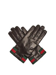 Gucci Web Striped Leather Gloves Black