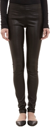 The Row Stretch Leather Leggings Black