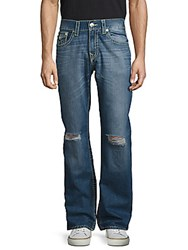 True Religion Straight Flap Five Pocket Distressed Jeans Mid Wash Blue