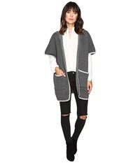 Brigitte Bailey Adley Short Sleeve Cardigan Charcoal Women's Sweater Gray