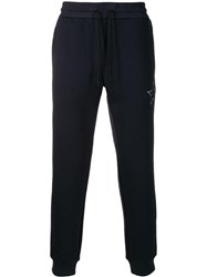 Emporio Armani Star Embroidered Track Pants Blue