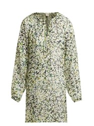 On The Island Floreana Floral Print Silk Crepe Kaftan Green Print