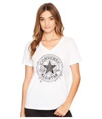 Converse Daisy Chuck Patch V Neck Short Sleeve Tee White Women's T Shirt
