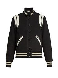 Saint Laurent Bi Colour Wool Blend Bomber Jacket Black White