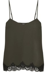 Theory Sakshee Lace Trimmed Crepe Camisole Charcoal