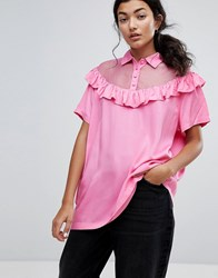 Lazy Oaf Bad For You Sheer Frilly Oversized T Shirt Pink