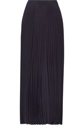 Helmut Lang Asymmetric Pleated Crepe De Chine Maxi Skirt Midnight Blue