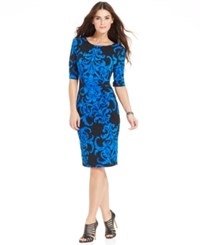 Connected Scroll Print Side Pleat Sheath Royal Blue Black