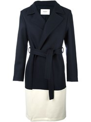 Ports 1961 Belted Colour Block Coat Blue