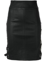 Each X Other Lace Up Side Fitted Skirt Black