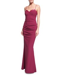Nicole Miller Sweetheart Neck Tuck Pleated Gown Berry Pink Women's